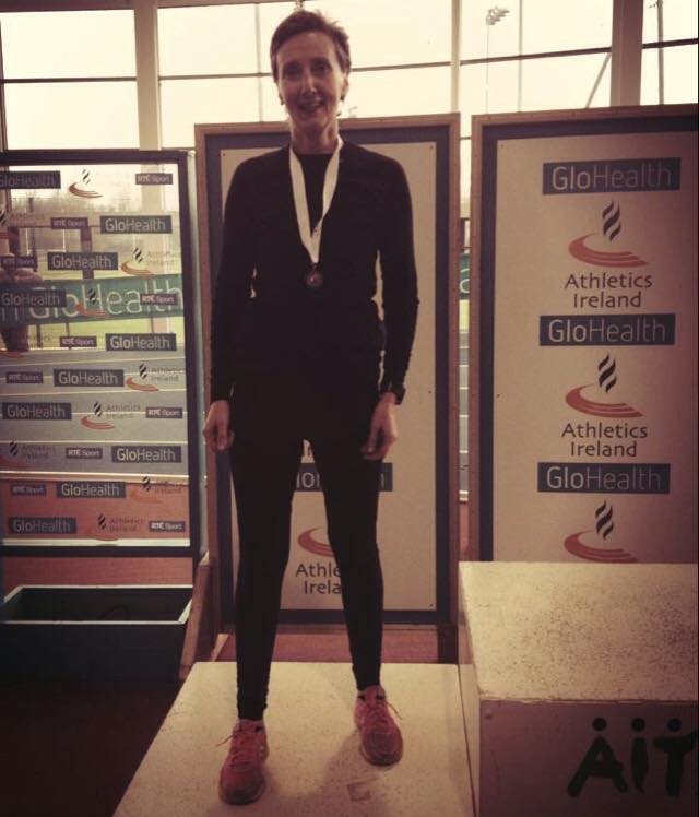 Joy McAleer won silver in the W50 800m at the Athletics Ireland Masters' Indoors Championships in Athlone
