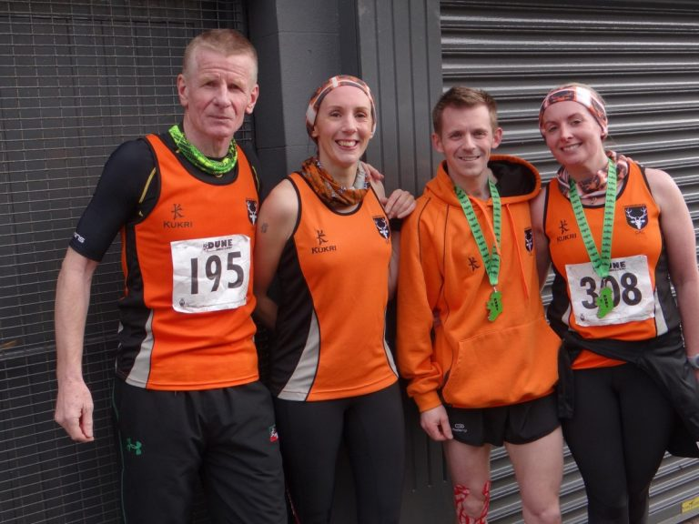 L-R: Brian Todd, Verity Cornford, Garry Morrow and Kerris Hamilton took part in the DUNE half marathon