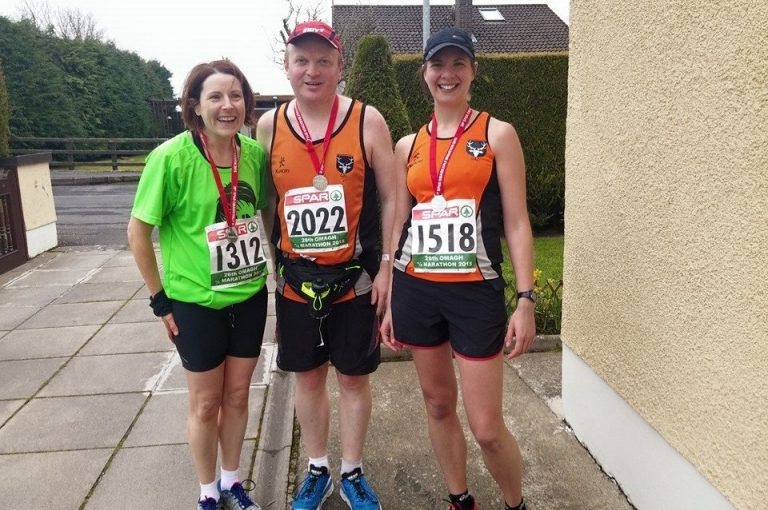 Anne Moore, Michael O'Donoghue and Sarah Steer looking very fresh after running the Omagh Half Marathon