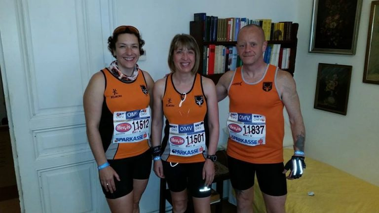 Sharon Dickenson, Jill Holland & Darren Moffett ready for the Vienna Half Marathon